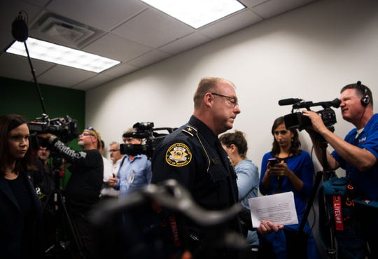 Sebring Police Department Chief of Police Karl Hoglund leaves a news conference Thursday, Jan. 24, 2019, where he spoke about the five people killed Wednesday at a SunTrust Bank branch in Sebring, Fla.