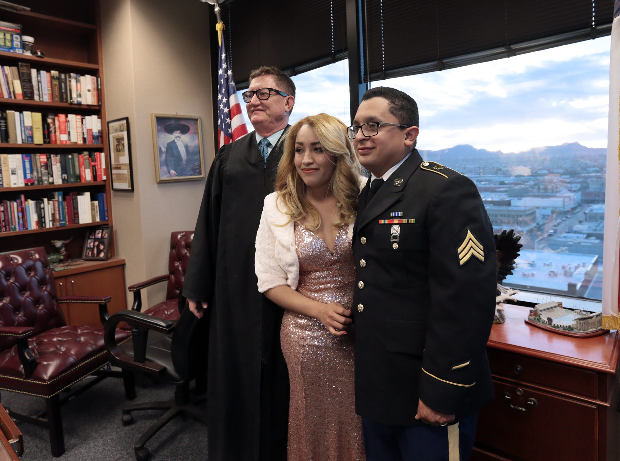 Judge Patrick Garcia had the opportunity to marry Randy Juarez and Carla Perez as a jury deliberated in a murder trial Tuesday in the 384th District Court in El Paso. Juarez is a mechanic with the New Mexico National Guard's 919th military police. Their families were present to witness the ceremony, which took place in the judge's chambers.
