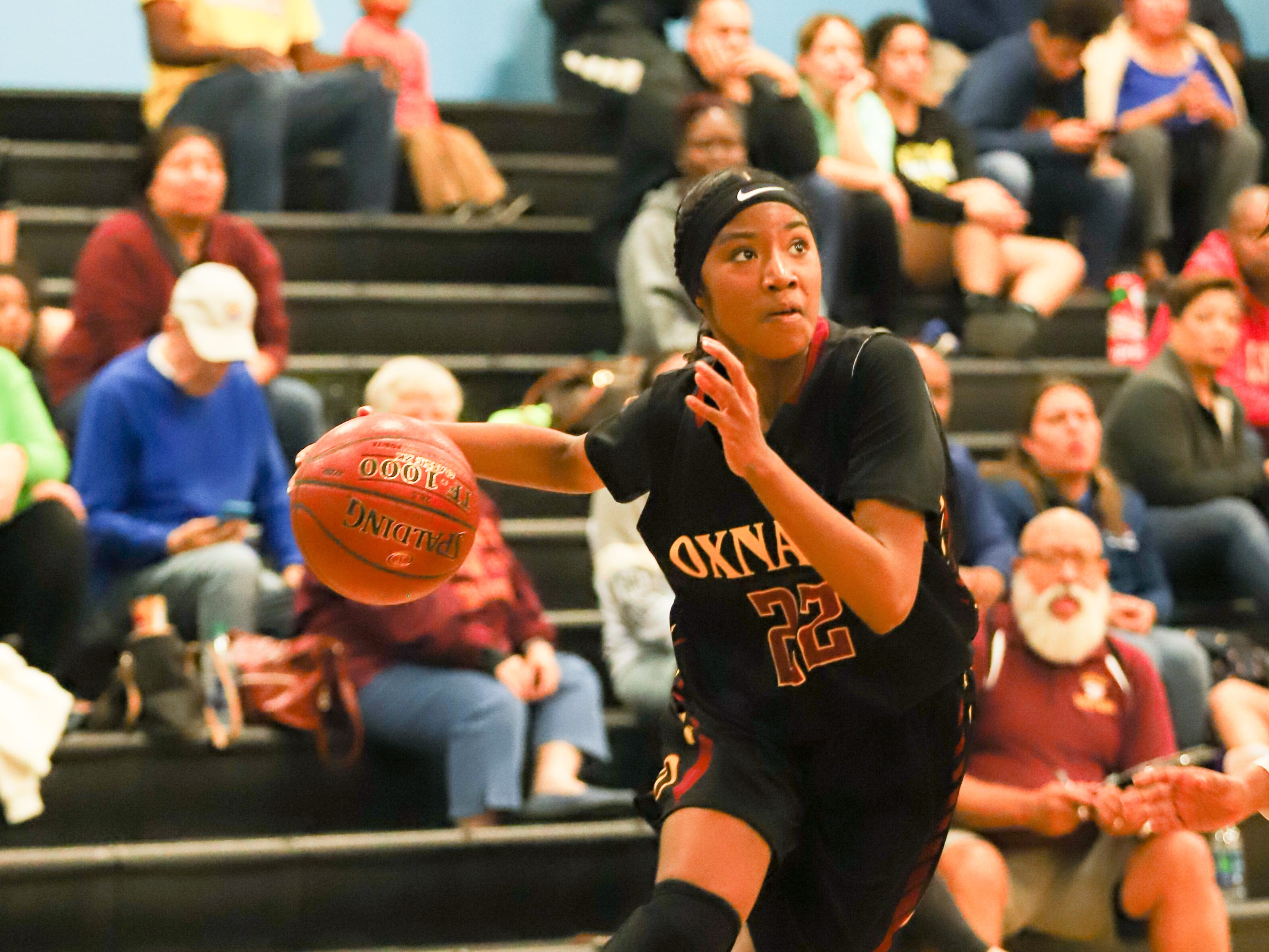 Myesha Lumas, a 5-foot-7 junior, is averaging 12.8 points for the Oxnard High girls basketball team, which clinched the Pacific View League title on Thursday and is ranked No. 3 in CIF-Southern Section Division 3A.
