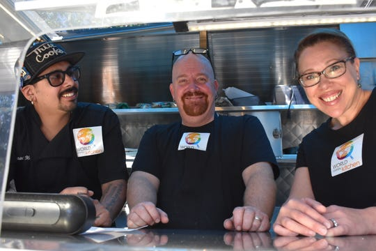The SoCal Comfort Food Truck's staff of Isaac Moraza (left), West Cooke and Shoshanah Cooke joined a World Central Kitchen project to provide free food to federal workers