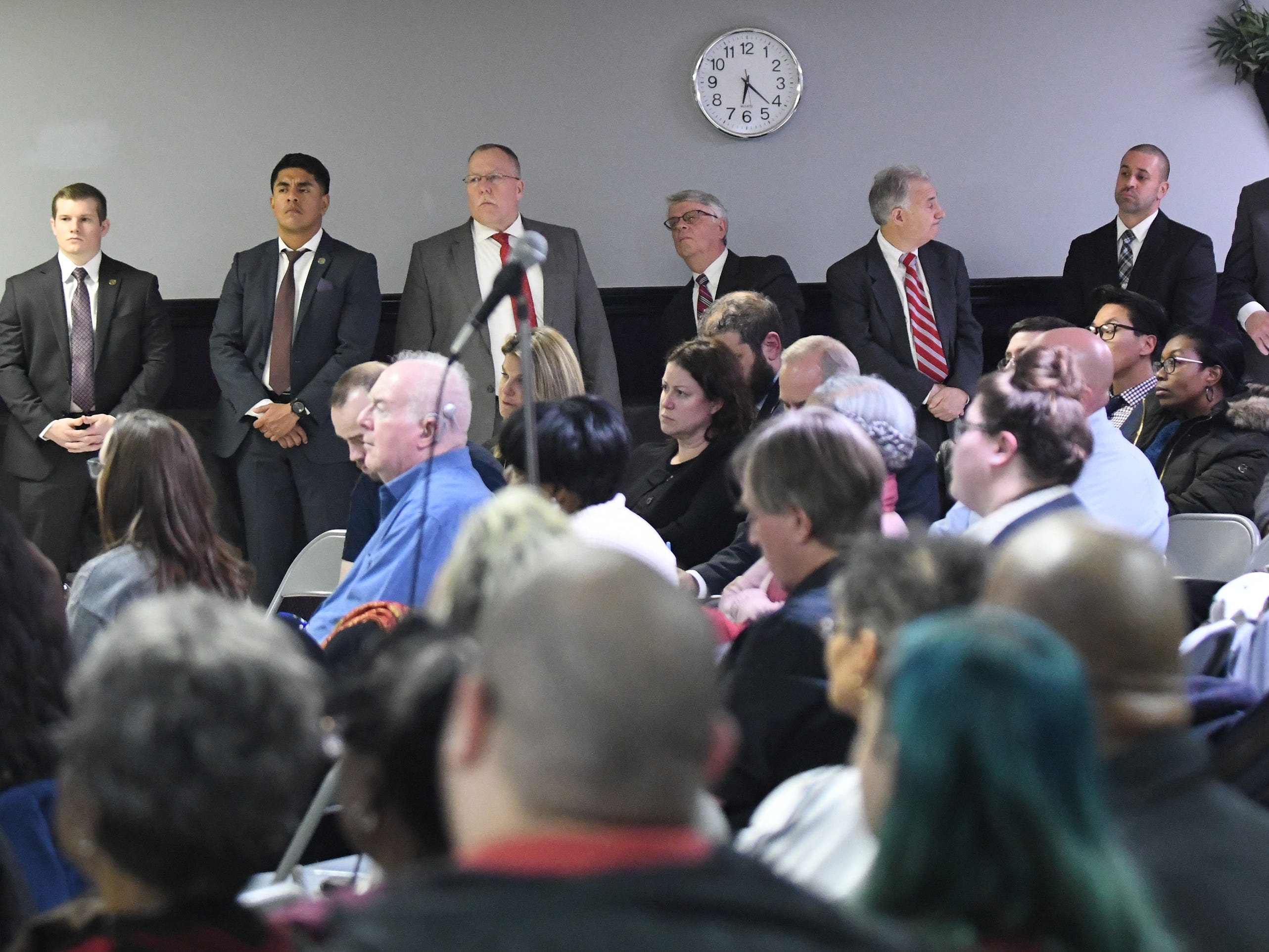 "Members of municipal and Cumberland County law enforcement agencies listen to N.J. Attorney General Gurbir S. Grewal speak about his ""Use of Force Project"" at Union Baptist Temple in Bridgeton on Wednesday, Jan. 23, 2019."