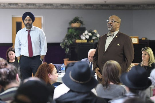 "Bridgeton Mayor Albert Kelly (right) and N.J. Attorney General Gurbir S. Grewal speak to the audience during a community ""listening session"" at Union Baptist Temple in Bridgeton on Wednesday, Jan. 23, 2019."
