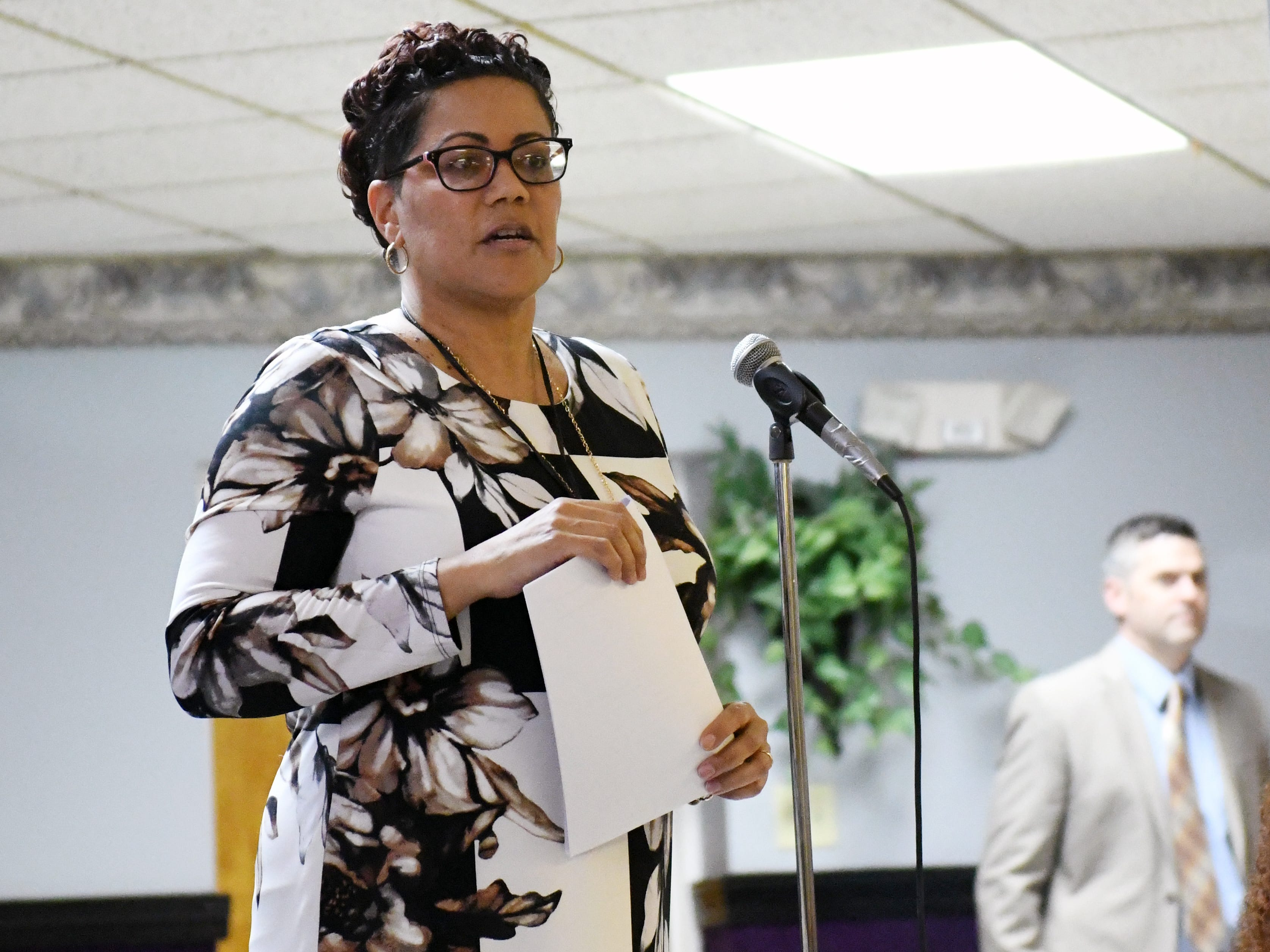 "Cumberland County Prosecutor Jennifer Webb-McRae speaks about police practices during a community ""listening session"" at Union Baptist Temple in Bridgeton on Wednesday, Jan. 23, 2019."
