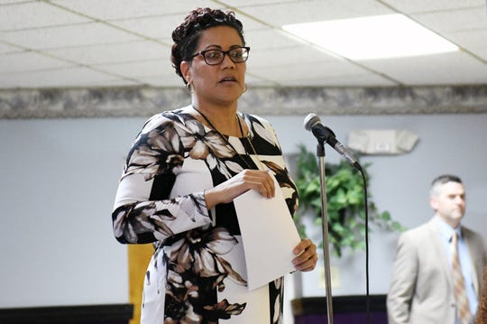 """Cumberland County Prosecutor Jennifer Webb-McRae speaks about police practices during a community """"listening session"""" at Union Baptist Temple in Bridgeton on Wednesday, Jan. 23, 2019."""