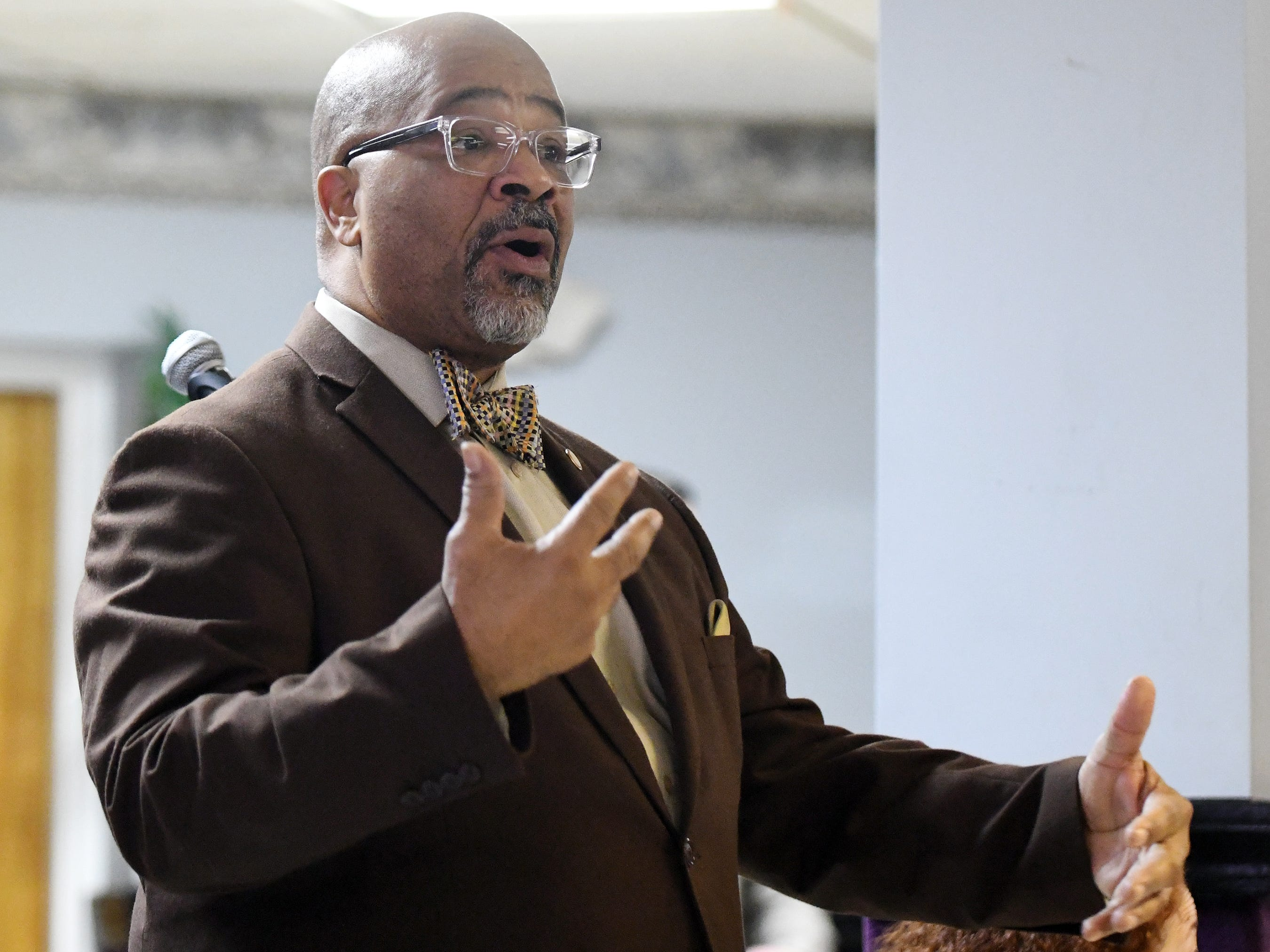 "Bridgeton Mayor Albert Kelly speaks to the audience during a community ""listening session"" at Union Baptist Temple in Bridgeton on Wednesday, Jan. 23, 2019."