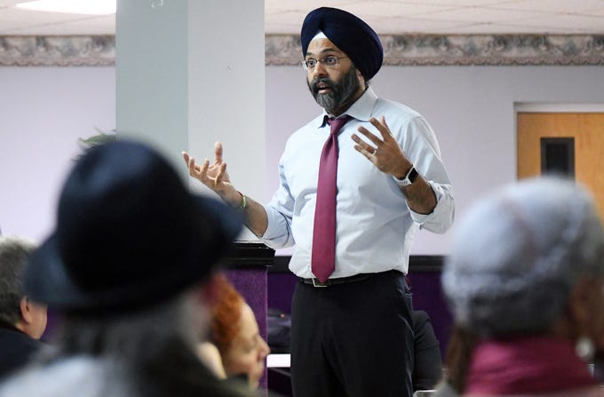 """N.J. Attorney General Gurbir S. Grewal and Cumberland County Prosecutor Jennifer Webb-McRae hosted a community """"listening session"""" to discuss the AG's """"Use of Force Project"""" at Union Baptist Temple in Bridgeton on Wednesday, Jan. 23, 2019."""