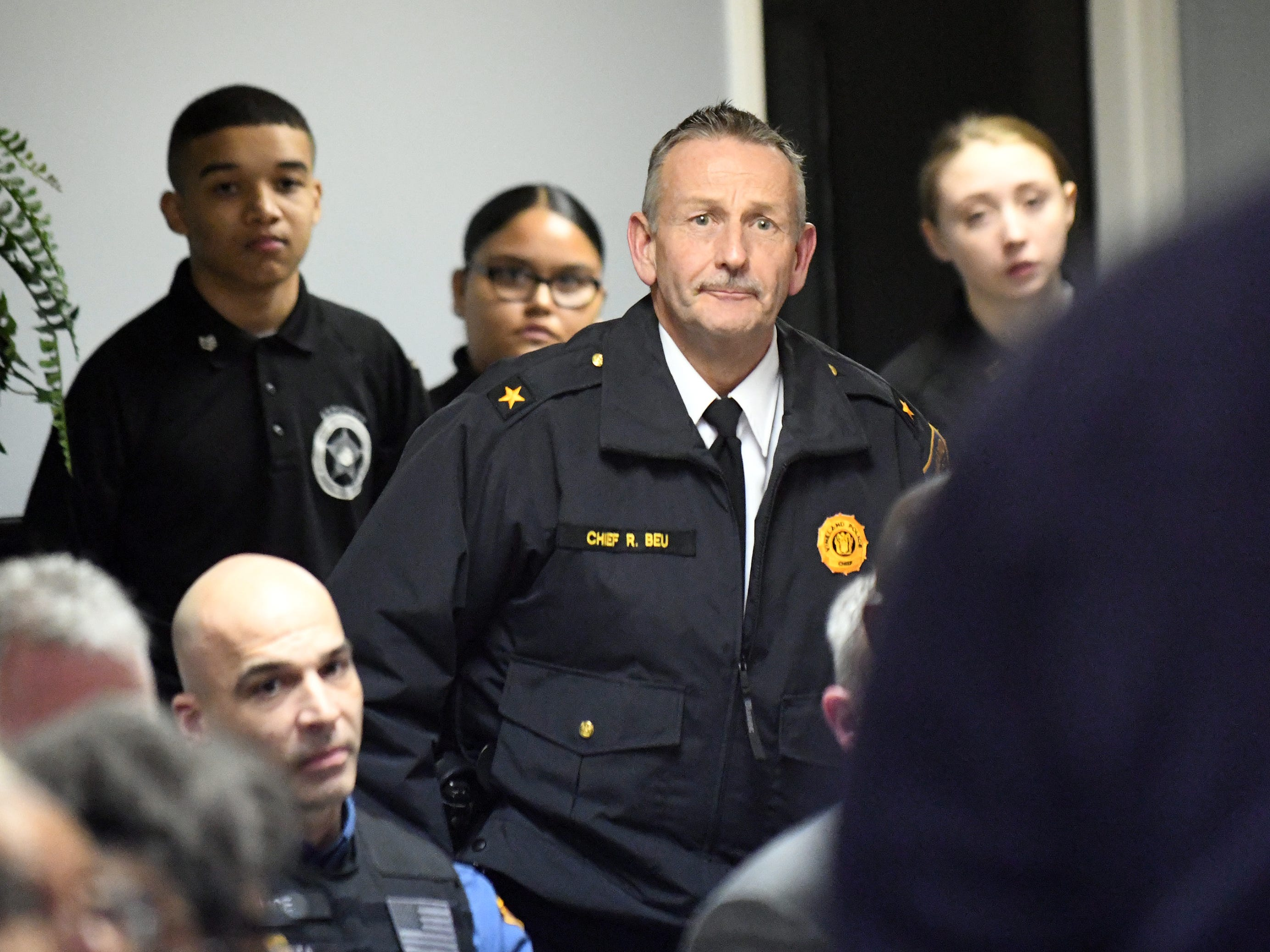 "Vineland Police Chief Rudy Beu addresses the crowd during a community ""listening session"" at Union Baptist Temple in Bridgeton on Wednesday, Jan. 23, 2019."