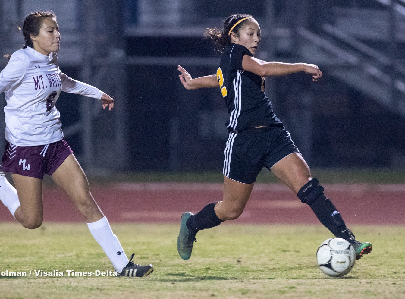Golden West's	Serina Oceguera (12) attempts a shot on goal against Mt. Whitney in a girls soccer game on Wednesday, January 23, 2019.