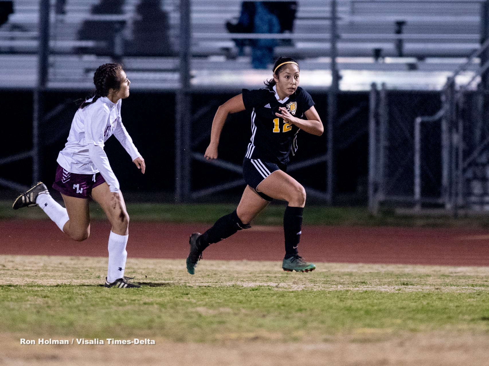 Golden West's 	Serina Oceguera (12) plays against Mt. Whitney in a girls soccer game on Wednesday, January 23, 2019.