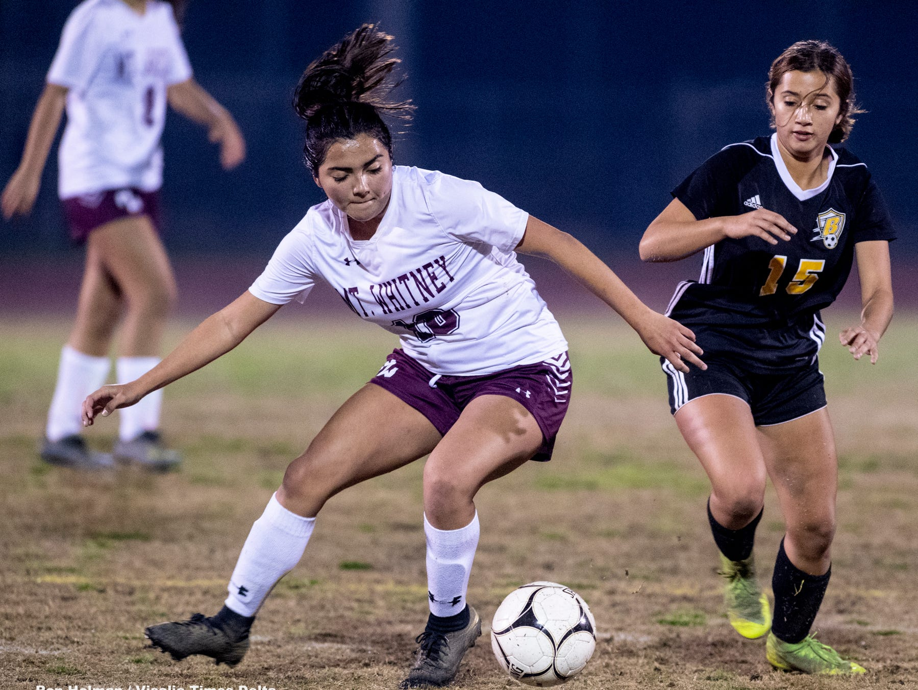 Golden West's 	Izabel Pelayo (15) plays against Mt. Whitney in a girls soccer game on Wednesday, January 23, 2019.