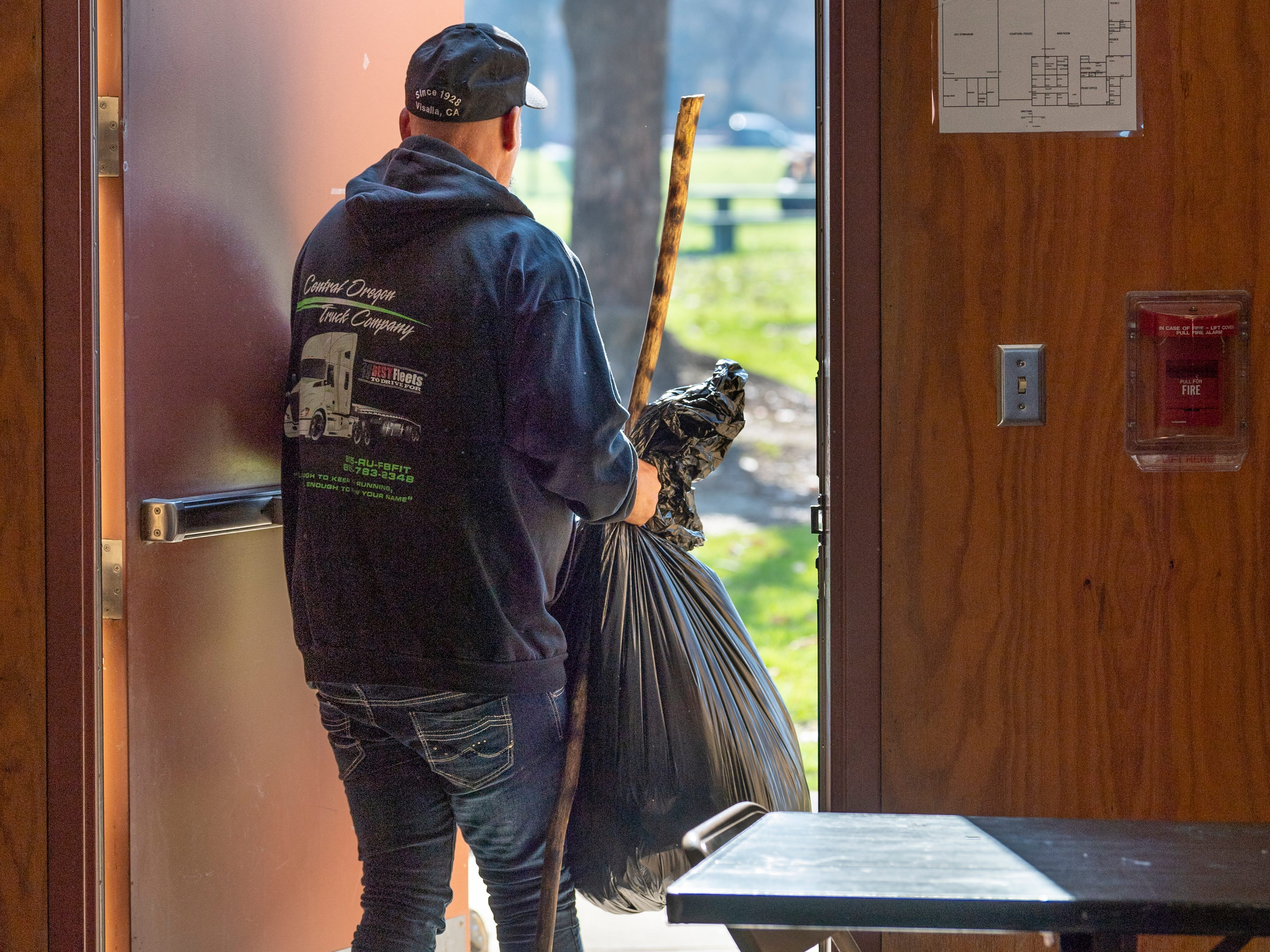 A man exits the Anthony Center in Visalia after Project Homeless Connect on Thursday, January 24, 2019.