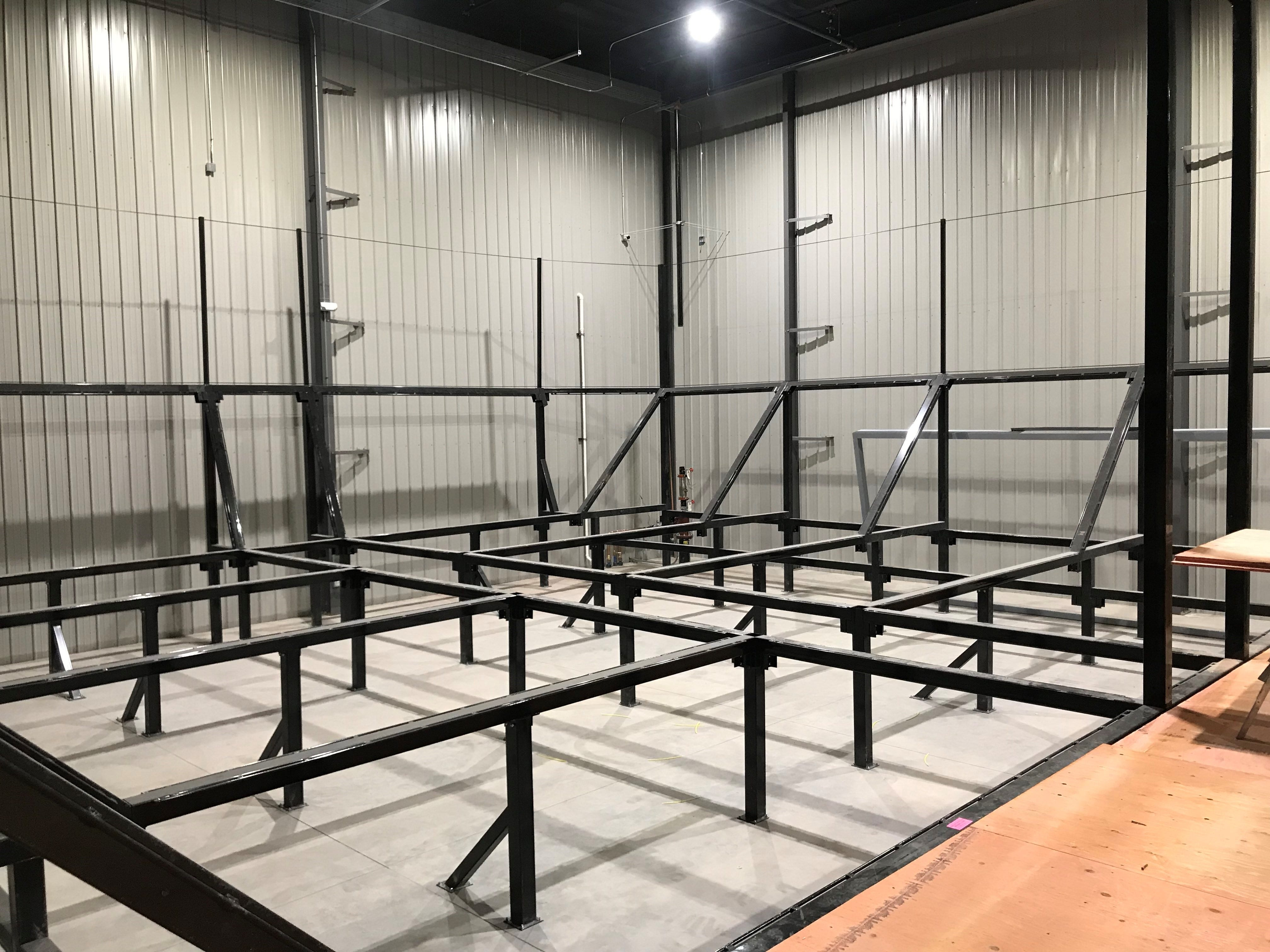 The main trampoline grid for older children will be in the far back corner.