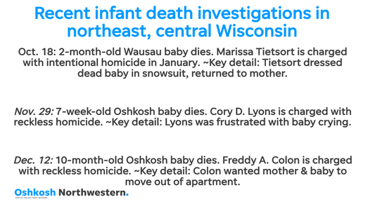 Recent noteworthy infant deaths in northeast and central Wisconsin.