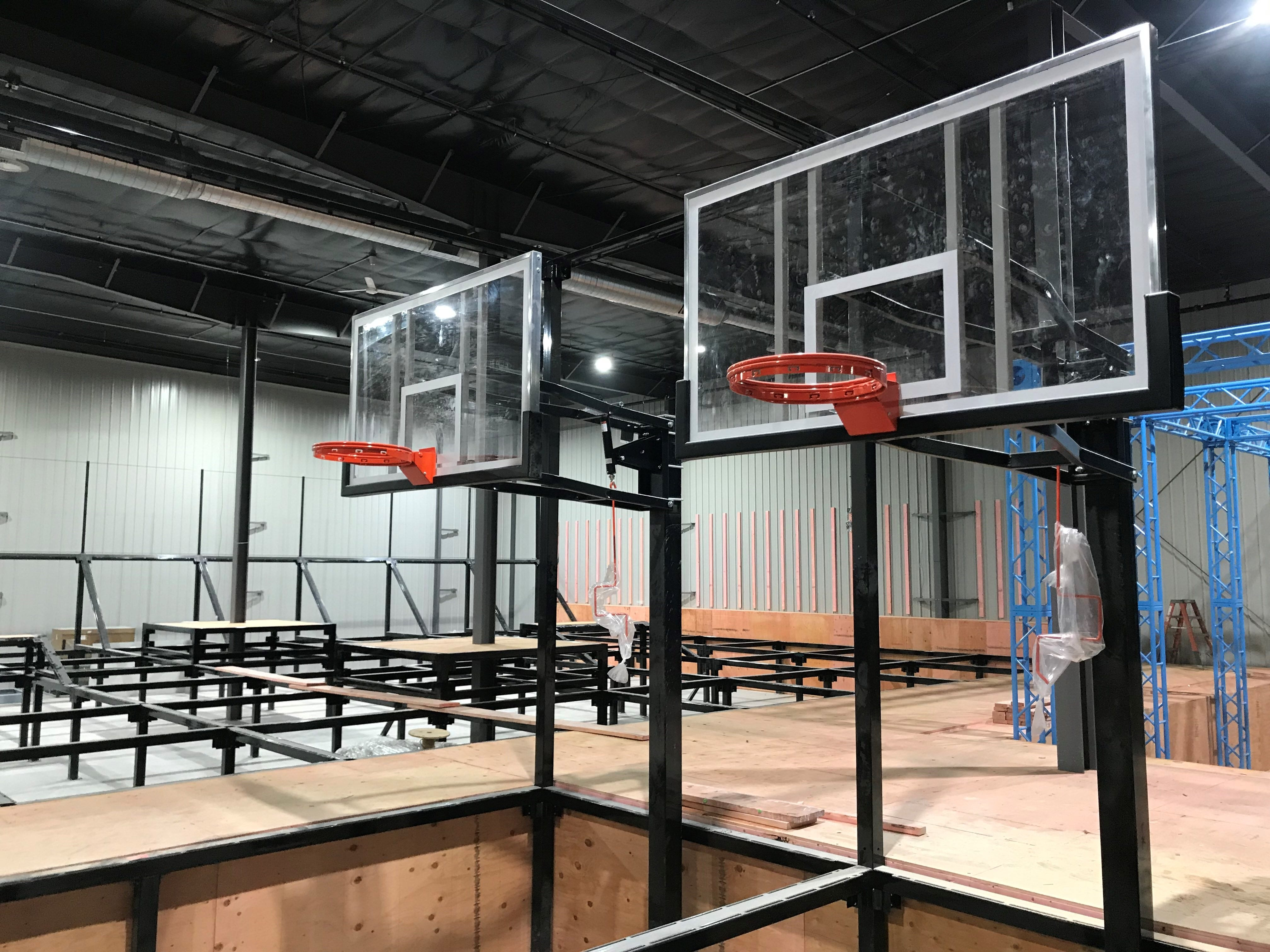 The trampoline park will include basketball hoops, where kids can jump and shoot the ball.