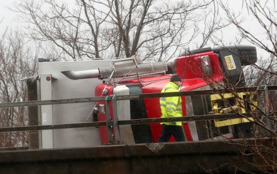 A truck carrying sand rolled over on northbound Interstate 684 at exit 6 in Katonah on Jan. 24, 2019.