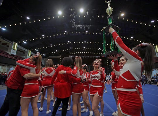 North Rockland High School celebrates winning the grand championship during the 70th Annual Westchester County Cheerleading Invitational at County Center in White Plains Jan. 23, 2019.