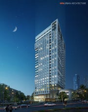 Rendering of the 27-story mixed-use tower proposed for the site currently occupied by the city's downtown fire station at 45 Harrison St., New Rochelle. The proposal by MacQuesten Development is still going through the city's approval process and can be affected by Con Edison's natural-gas moratorium.