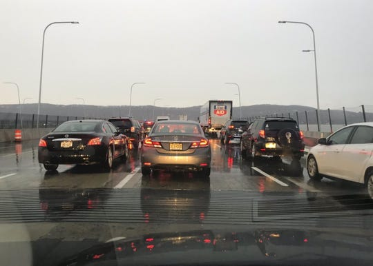 Traffic is backed up on the Rockland-bound side of the Gov. Mario M. Cuomo Bridge after a one-car crash.