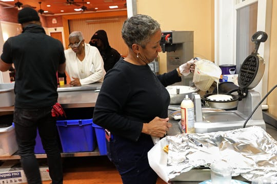 Volunteer Lynnette Marshall of Nyack prepares waffles at Grace's Kitchen at Grace Episcopal Church in Nyack, Jan. 24, 2019. The church is one of the locations participating in the point-in-time count, a nationwide count of homeless people required by the U.S. Department of Housing and Urban Development (HUD) which sets funding levels based on the count.