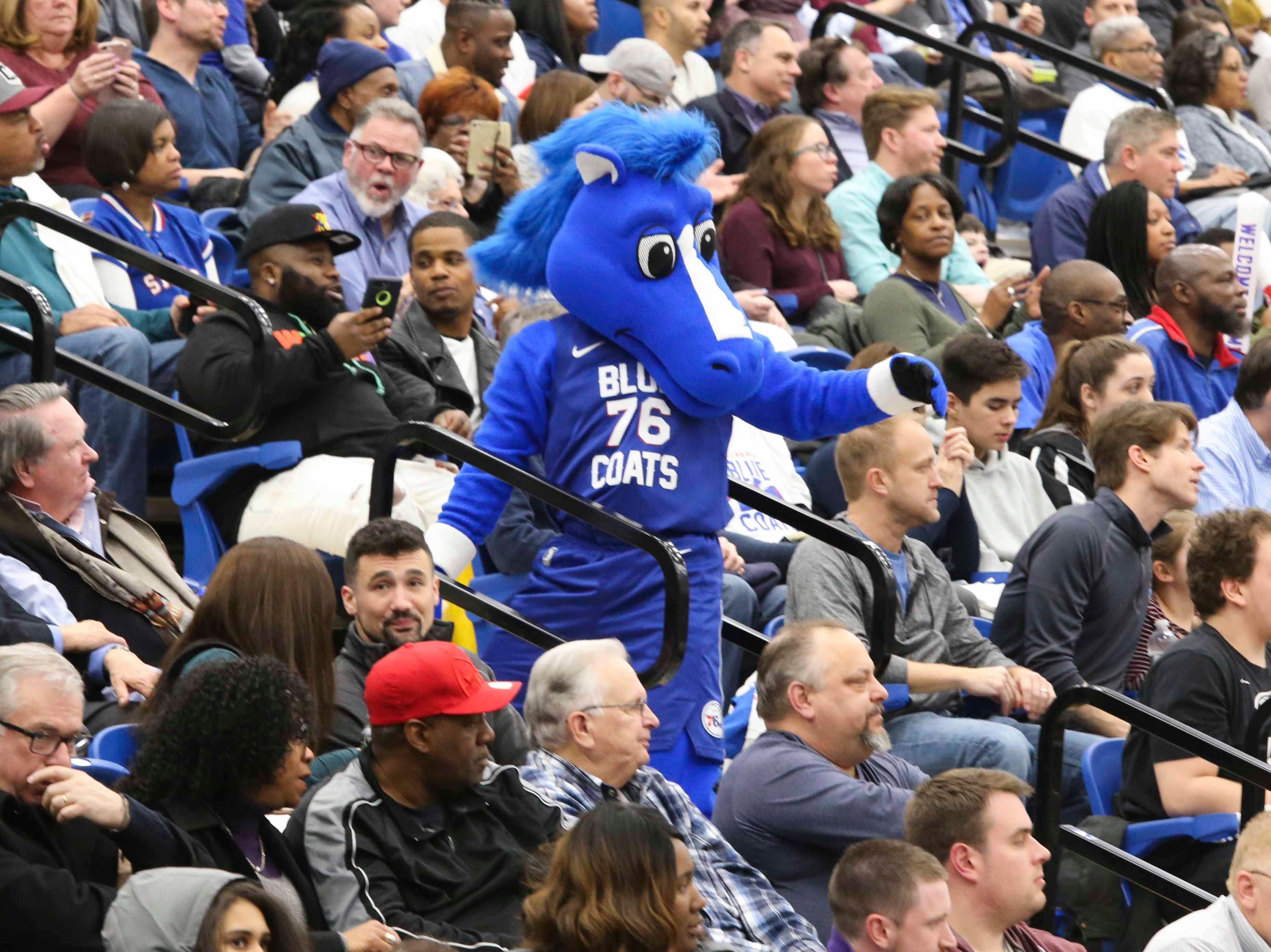 Coaty works the crowd as the Delaware Blue Coats of the NBA G-League open the 76ers Field House in Wilmington Wednesday.