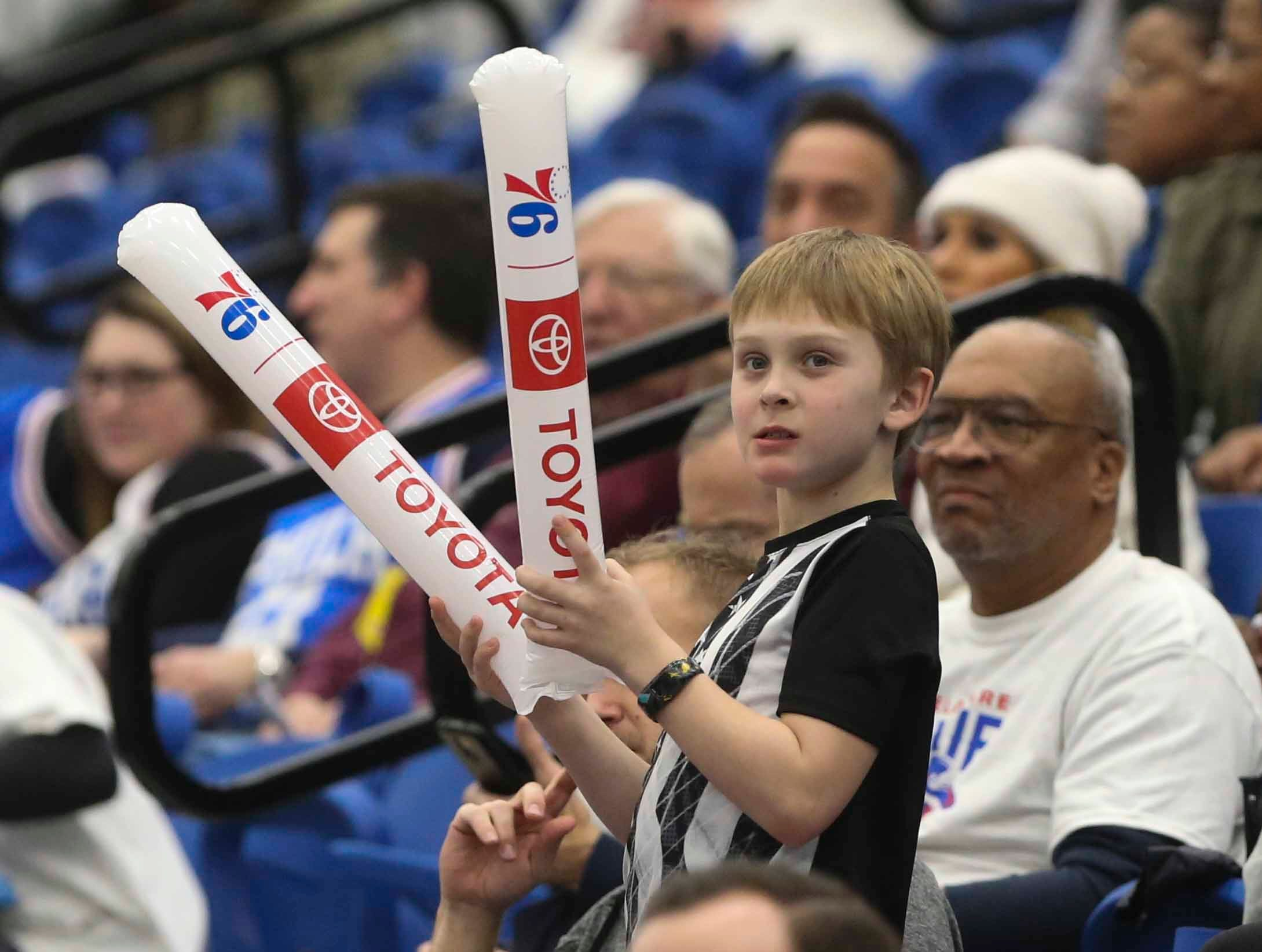 Fans watch as the Delaware Blue Coats of the NBA G-League open the 76ers Field House in Wilmington Wednesday.