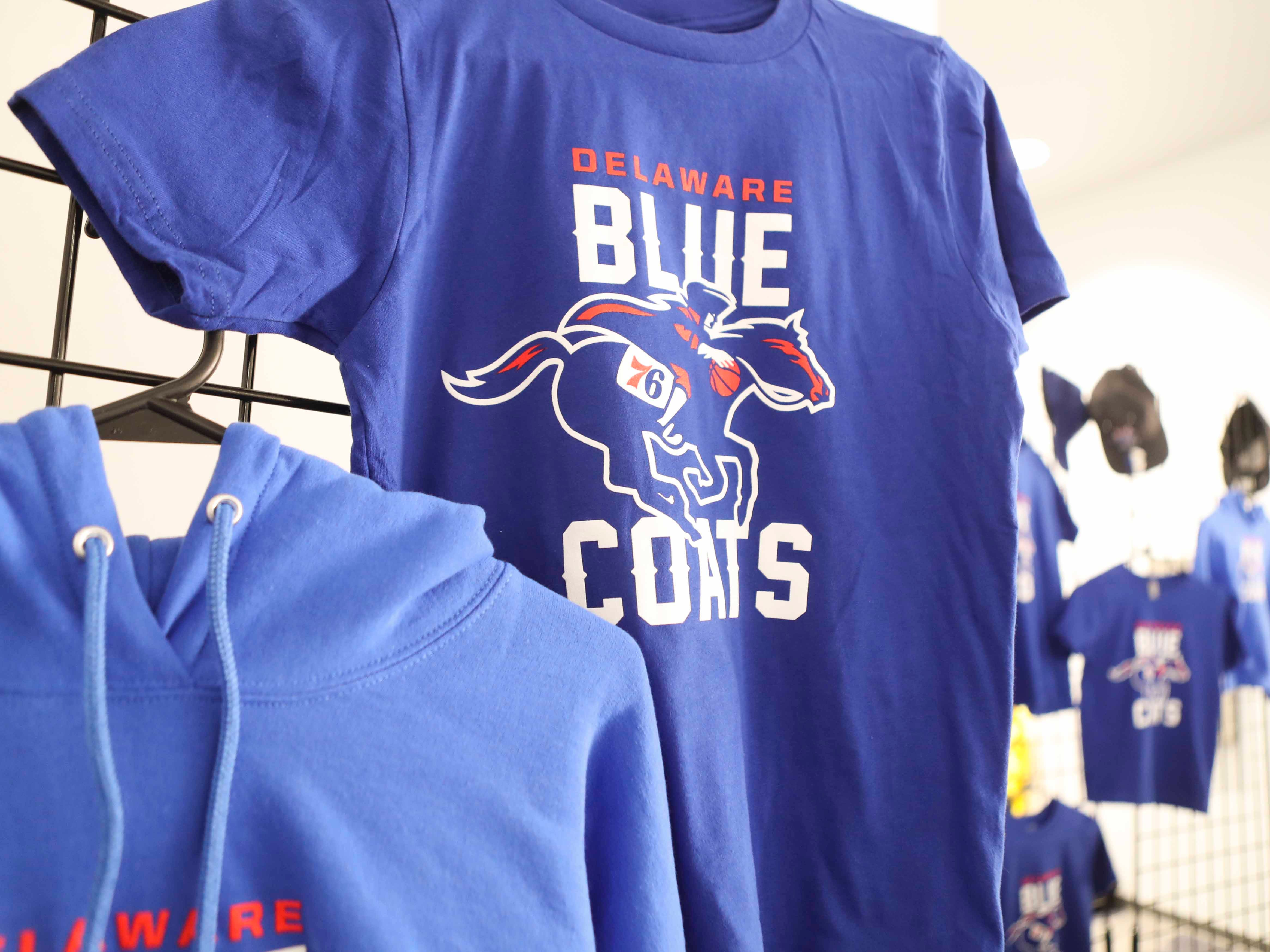 Merchandise is for sale as the Delaware Blue Coats of the NBA G-League open the 76ers Field House in Wilmington Wednesday.