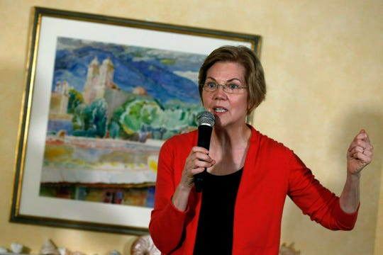 In this Jan. 12, 2019, photo, Sen. Elizabeth Warren, D-Mass., speaks during a house party in Concord, N.H.