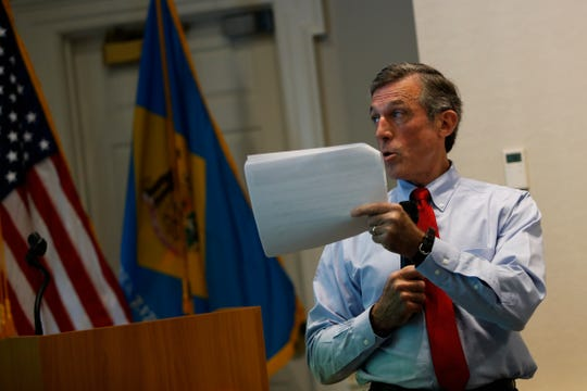 Gov. John Carney unveils his proposed budget for fiscal year 2020 during a presentation at the Delaware Public Archives on Thursday.