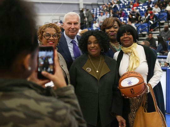 Wilmington city council president Hanifa Shabazz (left) poses Mayor Mike Purzycki, State Rep. Stephanie Bolden and Council members Michelle Harlee and Zanthia Oliver at the opening of the 76ers Fieldhouse Wednesday.
