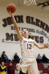 John Glenn's Maddie Vejsicky puts up a shot against River View.