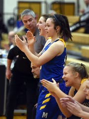 The bench celebrates after Maysville clinched a 53-48 win on Wednesday night in Dresden.