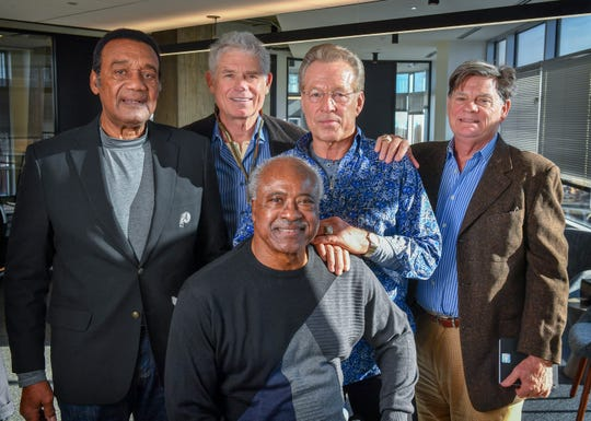 Former Washington players (L-R) Roy Jefferson, John Riggins, Larry Brown, Mark Moseley and Mike Bragg support Riggins and his wife, Lisa Marie, who are at the forefront of a campaign to improve benefits for retired NFL players.