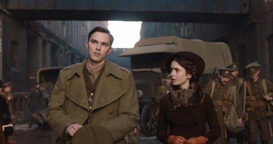 "Nicholas Hoult stars as J.R.R. Tolkien and Lily Collins is his beloved Edith Bratt in ""Tolkien."""