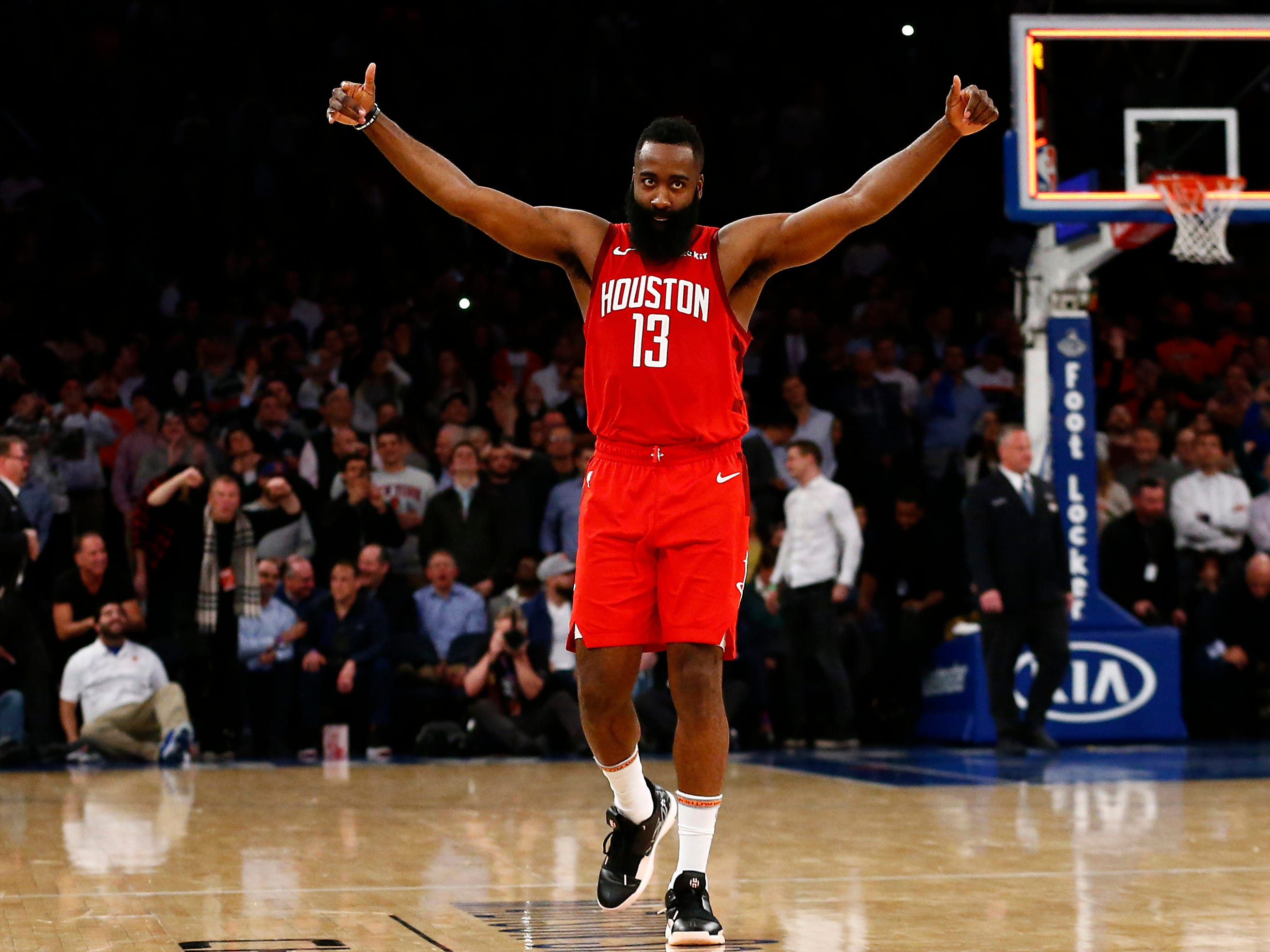 Jan. 23: Rockets star James Harden celebrates after pouring in a career-high 61 points against the Knicks to tie a Madison Square Garden scoring record for opposing players.