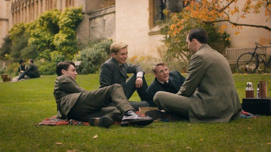 "J.R.R. Tolkien (Nicholas Hoult, right) forms an important fellowship with his school chums (Anthony Boyle, Tom Glynn-Carney and Patrick Gibson) in ""Tolkien."""