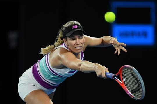 American Danielle Collins, stretching for a backhand during her match against Petra Kvitova of the Czech Republic,  was aiming to become the first collegiate player to reach a major final since 1983. Collins played at University of Virginia.