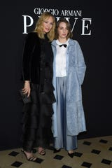 Uma Thurman and Maya Hawke attend the Giorgio Armani Prive Haute Couture Spring Summer 2019 show as part of Paris Fashion Week on Jan. 22 in Paris, France.