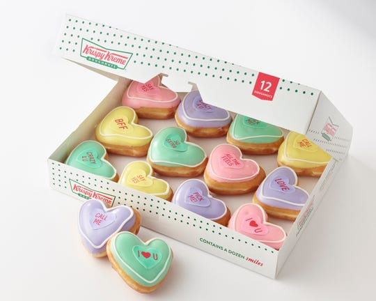 Krispy Kreme's new line of doughnuts hopes to fill a Valentine's Day void.