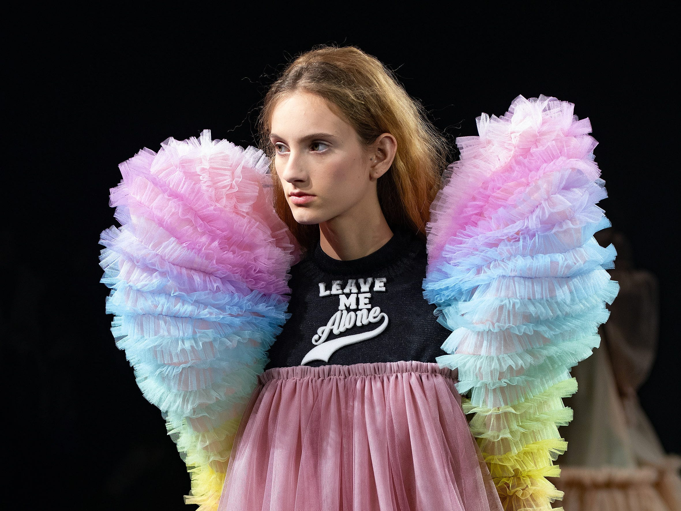 This Viktor & Rolf design, which featured rainbow-hued, Elizabethan-style sleeves, was similarly antisocial.