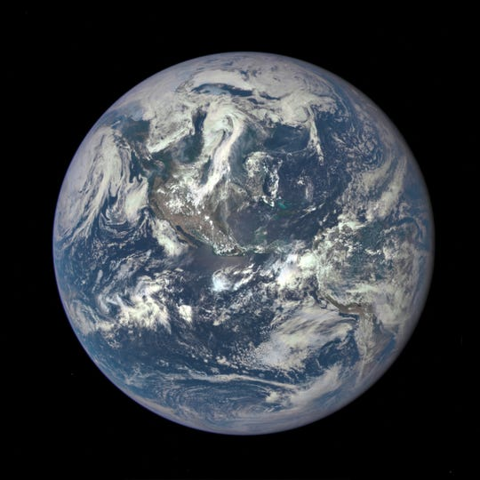 A NASA camera on the Deep Space Climate Observatory satellite shows the entire sunlit side of Earth from 1 million miles away.