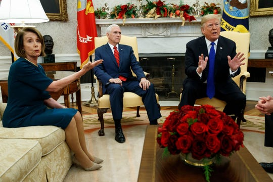 Vice President Mike Pence, then House Minority Leader Rep. Nancy Pelosi, D-Calif., and President Donald Trump on Dec. 11, 2018 in Washington, D.C.