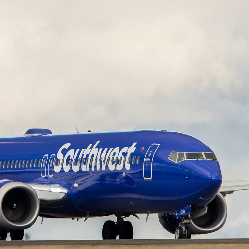 A Southwest Airlines Boeing 737 MAX 8 jet lands at Seattle-Tacoma International Airport in December of 2017.