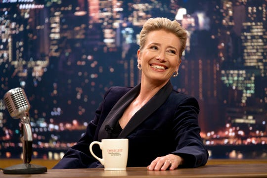 "Katherine Newbury (Emma Thompson) is a fading female late-night host who's slow to change in the Mindy Kaling-written comedy ""Late Night."""