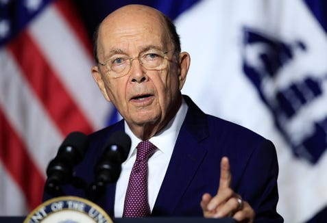 Department of Commerce Secretary Wilbur Ross speaks to department employees in Washington on July 16, 2018.