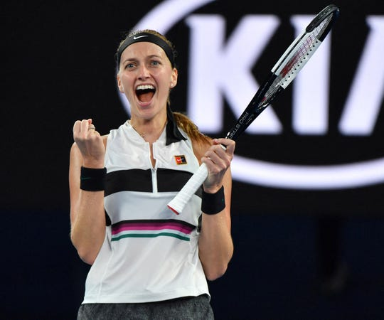 Petra Kvitova celebrates after her straight-set win over Danielle Collins in the semifinals.