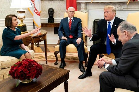 House Speaker Nancy Pelosi, Vice President Mike Pence, President Donald Trump and Senate Minority Leader Chuck Schumer on December 11, 2018.