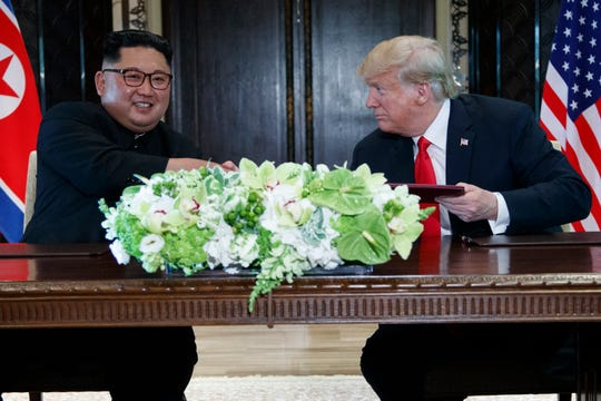 President Donald Trump and North Korean leader Kim Jong Un in Singapore in June.