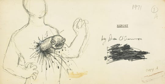 "An early interpretation of the ""chestburster"" alien drawn by screenwriter Dan O'Bannon."