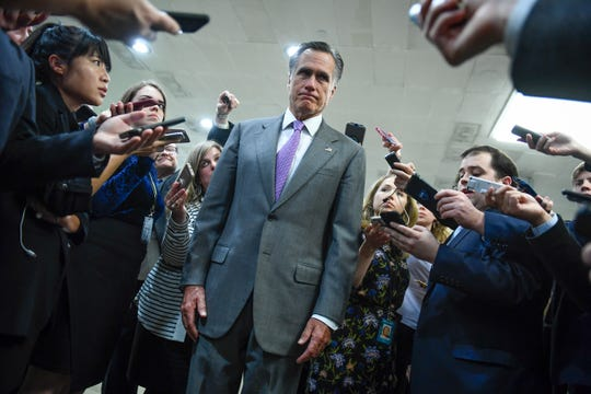 Senator Mitt Romney (R-Utah) talking to the media following the Senate rejecting a pair of dueling bills Thursday to fund the federal government and end the longest partial government shutdown in history.