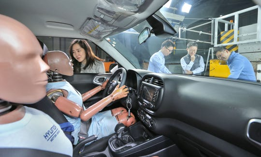 Hyundai developed a new airbag system to protect against multiple collisions.